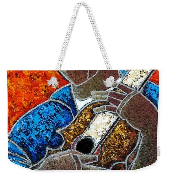 Weekender Tote Bag featuring the painting Solo De Cuatro by Oscar Ortiz