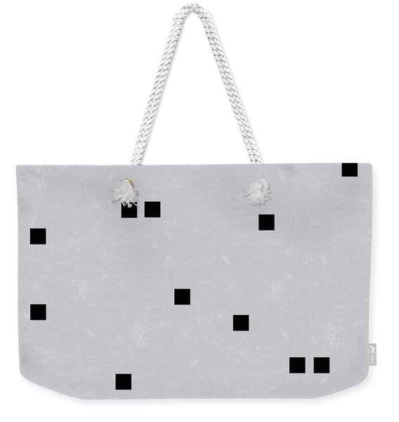 Sophisticated Decor Pattern, Black Square Confetti, Grey Linen Texture Weekender Tote Bag