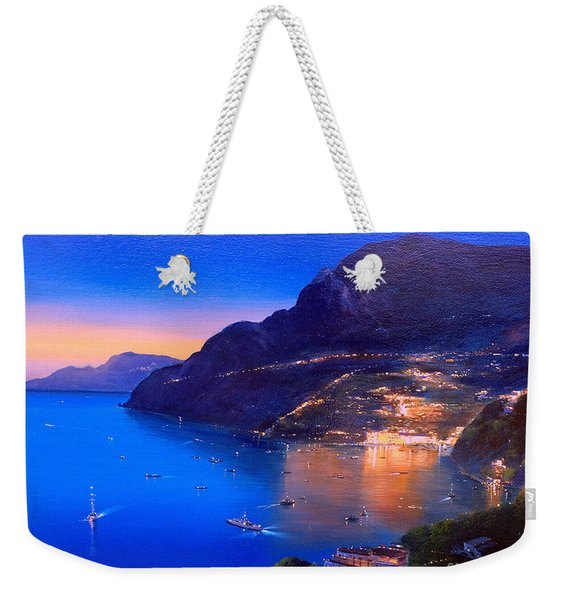 Weekender Tote Bag featuring the painting La Dolce Vita A Sorrento by Rosario Piazza