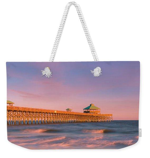 Weekender Tote Bag featuring the photograph South Carolina Fishing Pier At Sunset Panorama by Ranjay Mitra