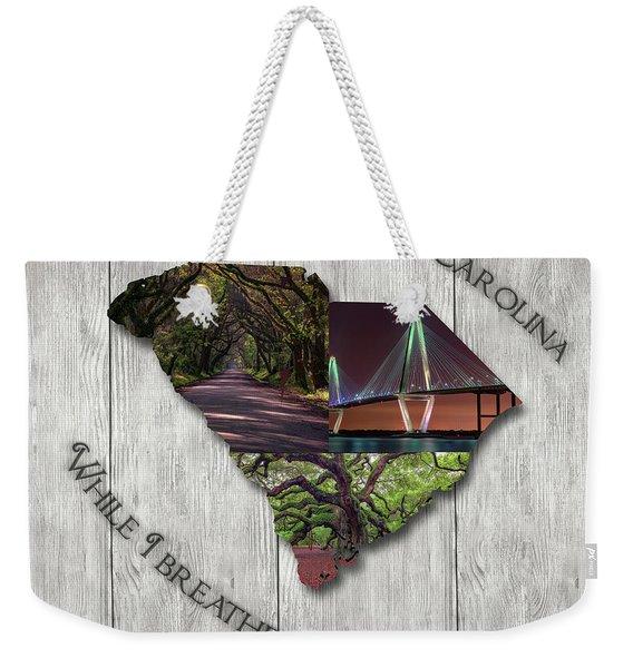 South Carolina State Map Collage Weekender Tote Bag