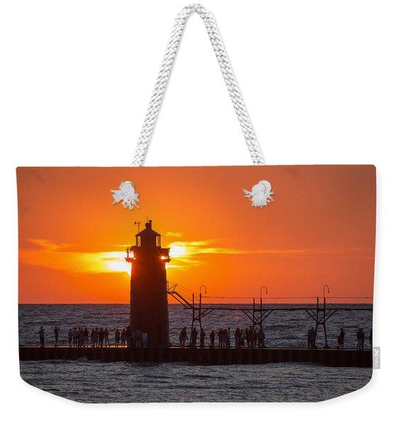 South Haven Michigan Sunset Weekender Tote Bag