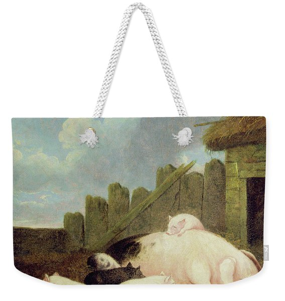 Sow With Piglets In The Sty  Weekender Tote Bag