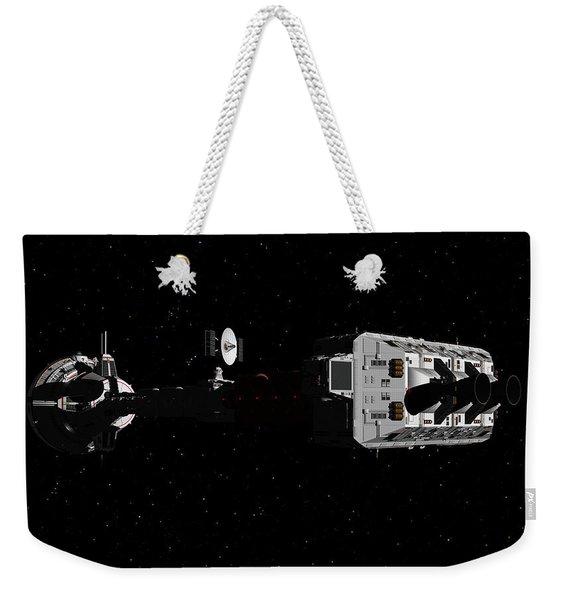 Spaceship Uss Cumberland Traveling Through Deep Space Weekender Tote Bag