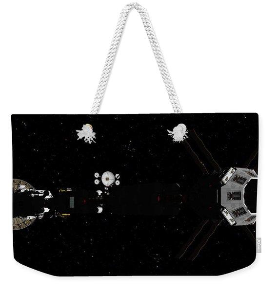 Spaceship Uss Savannah In Deep Space Weekender Tote Bag