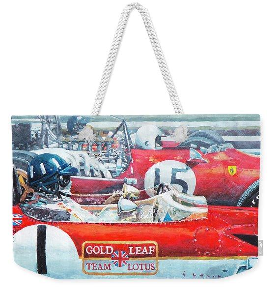 Spain Gp 1969  Lotus 49 Hill  Ferrari 312 Amon  Lotus 49b Rindt  Weekender Tote Bag