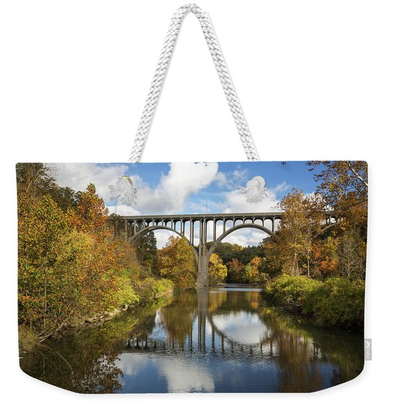 Spanning The Cuyahoga River Weekender Tote Bag