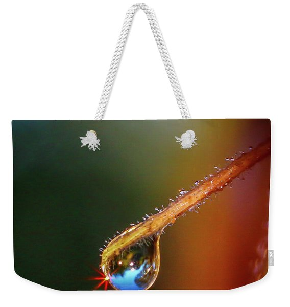 Weekender Tote Bag featuring the photograph Sparkling Drop Of Dew by Tom Claud