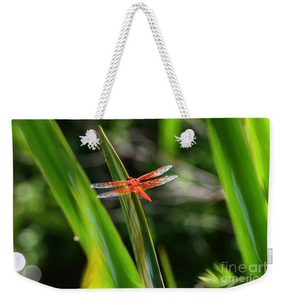 Sparkling Red Dragonfly Weekender Tote Bag