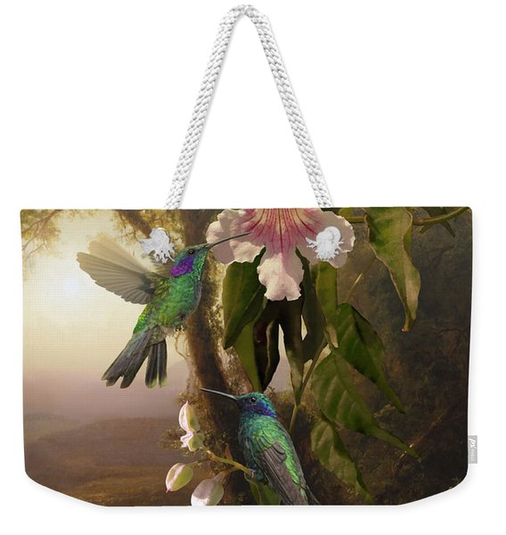 Sparkling Violetear Hummingbirds And Trumpet Flower Weekender Tote Bag
