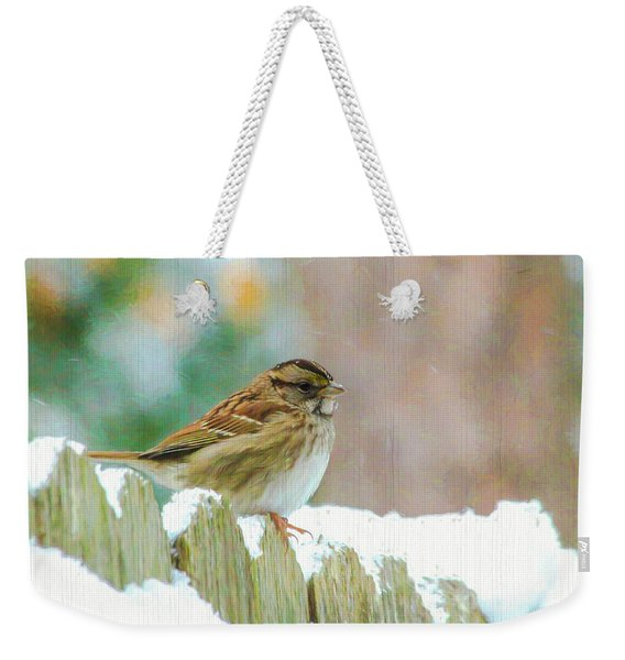 Sparrow On A Snowy Day  Weekender Tote Bag