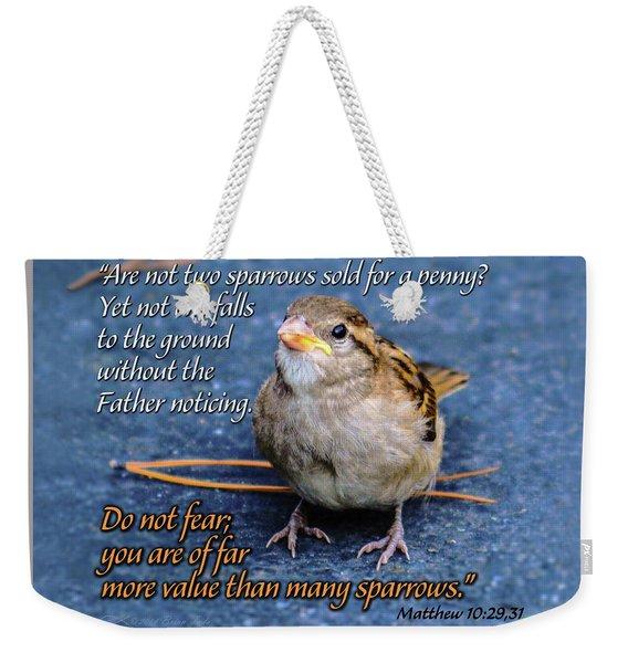Sparrow Scripture Matthew 10 Weekender Tote Bag