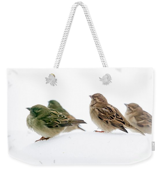 Sparrows In The Snow Weekender Tote Bag