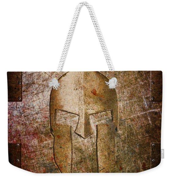 Spartan Helmet On Metal Sheet With Copper Hue Weekender Tote Bag