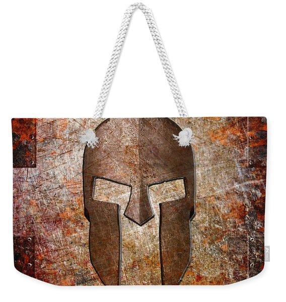Spartan Helmet On Rusted Riveted Metal Sheet Weekender Tote Bag