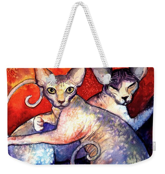 Sphynx Cats Sphinx Family Painting  Weekender Tote Bag