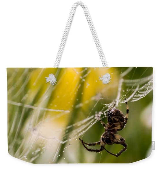 Spider And Spider Web With Dew Drops 04 Weekender Tote Bag