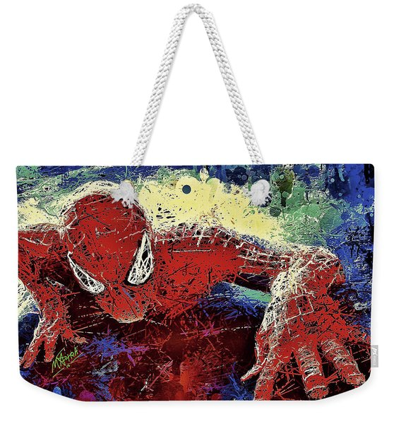 Weekender Tote Bag featuring the mixed media Spiderman Climbing  by Al Matra