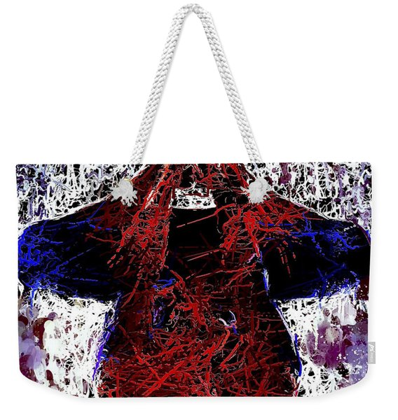 Weekender Tote Bag featuring the mixed media Spiderman Hanging Around by Al Matra