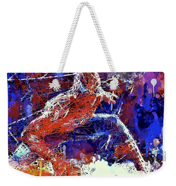 Weekender Tote Bag featuring the mixed media Spiderman  by Al Matra