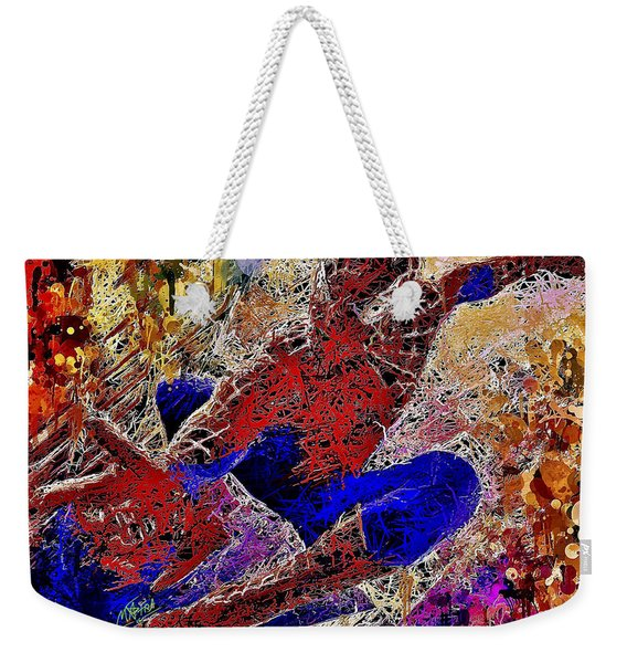 Weekender Tote Bag featuring the mixed media Spiderman 2 by Al Matra