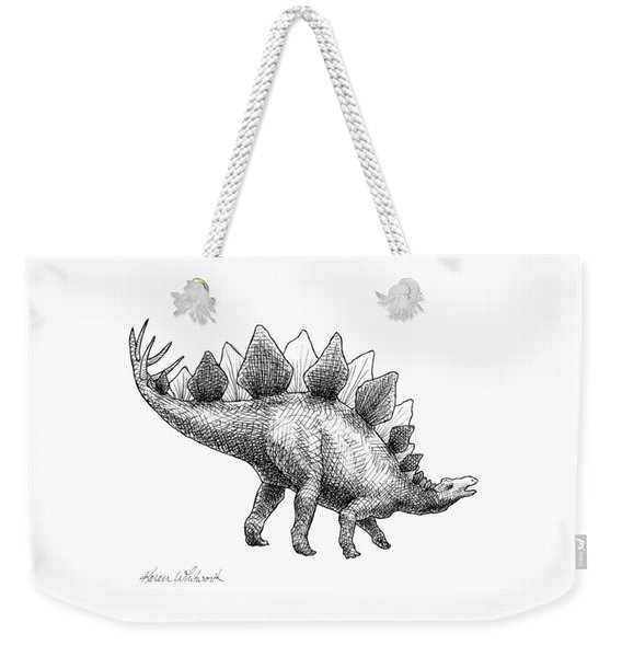 Stegosaurus - Dinosaur Decor - Black And White Dino Drawing Weekender Tote Bag