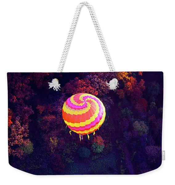 Spiral Colored Hot Air Balloon Over Fall Tree Tops Mchenry   Weekender Tote Bag