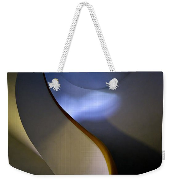 Weekender Tote Bag featuring the photograph Spiral Concrete Modern Staircase by Jaroslaw Blaminsky