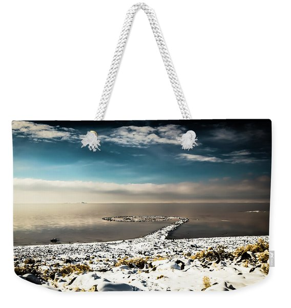 Spiral Jetty In Winter Weekender Tote Bag
