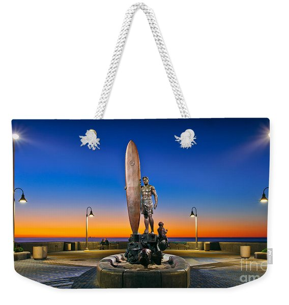 Weekender Tote Bag featuring the photograph Spirit Of Imperial Beach Surfer Sculpture by Sam Antonio