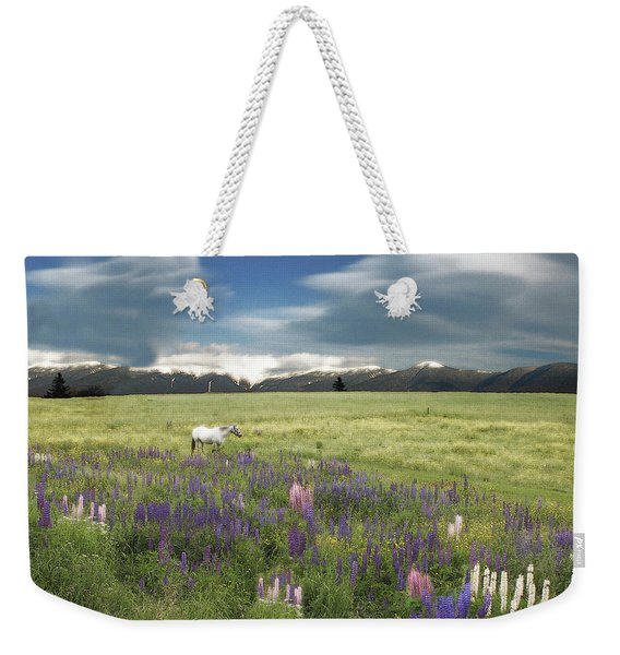 Weekender Tote Bag featuring the photograph Spirit Pony In High Country Lupine Field by Wayne King