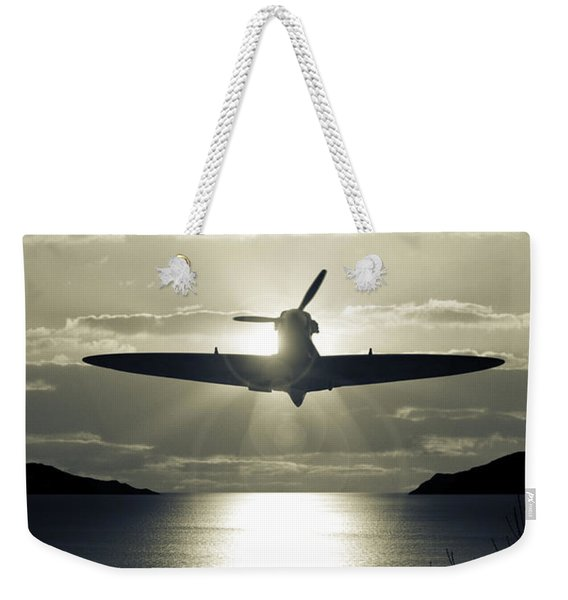 Weekender Tote Bag featuring the photograph Spitfire Over Lake by Clayton Bastiani