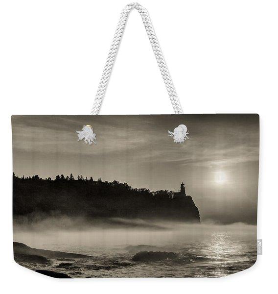 Split Rock Lighthouse Emerging Fog Weekender Tote Bag