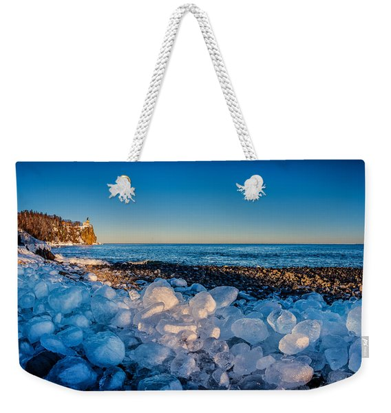 Split Rock Lighthouse With Ice Balls Weekender Tote Bag