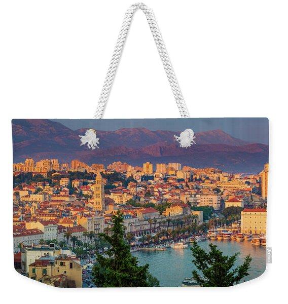 Split Twilight Panorama Weekender Tote Bag