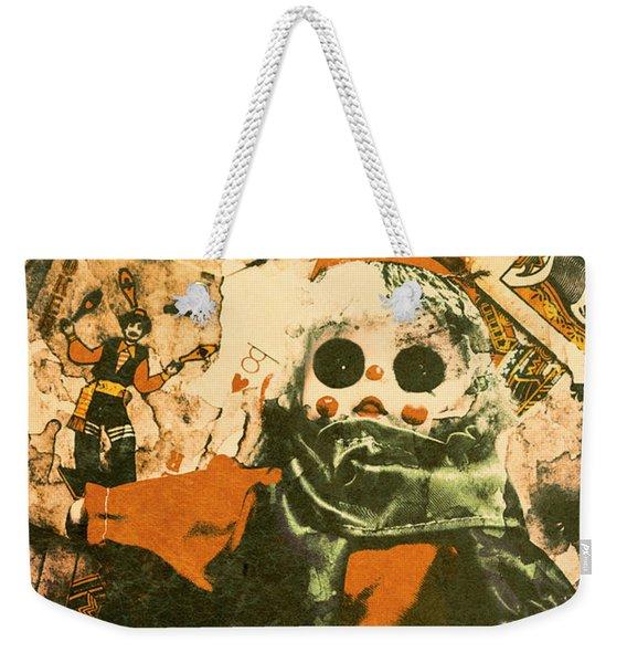 Spooky Carnival Clown Doll Weekender Tote Bag