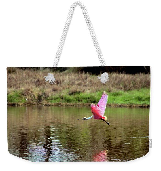 Spoonbill In Flight Weekender Tote Bag