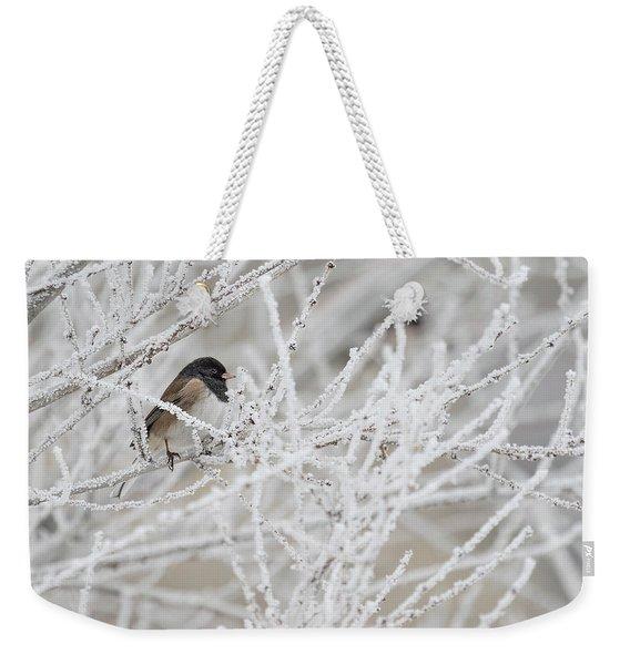 Spotted Towhee In Winter Weekender Tote Bag