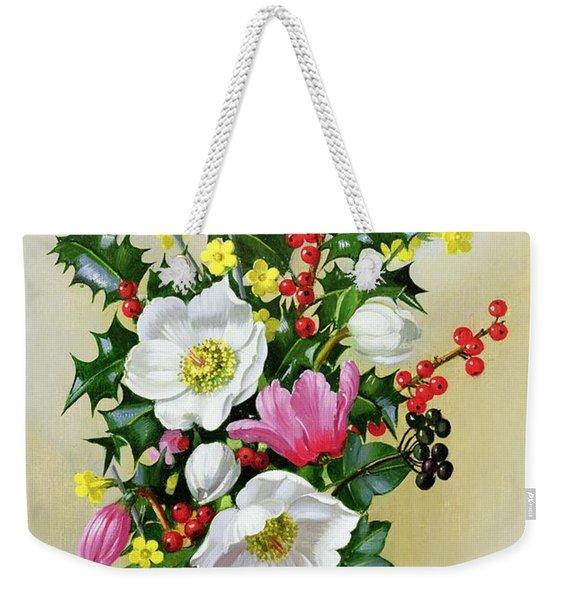 Spray Of Dogrose Holly Mistletoe And Larkspur Weekender Tote Bag