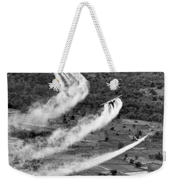 Spraying Agent Orange Weekender Tote Bag
