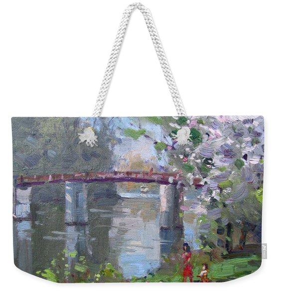 Spring At Dog Walking Park Weekender Tote Bag