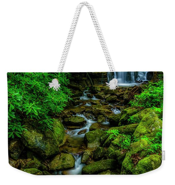 Spring Green Waterfall And Rhododendron Weekender Tote Bag