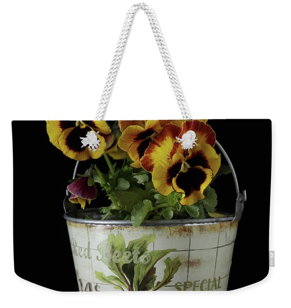 Spring Pansy Flowers In A Pail Weekender Tote Bag