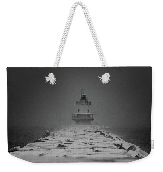 Spring Point Ledge Lighthouse Blizzard In Black N White Weekender Tote Bag