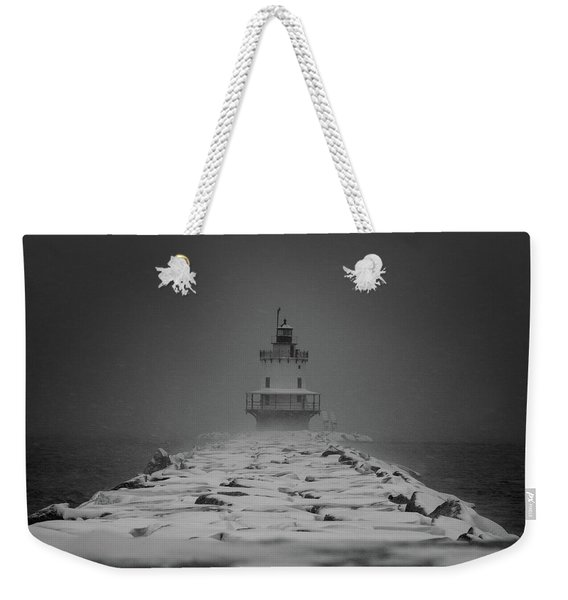 Spring Point Ledge Lighthouse Blizzard In Black N White Weekender Tote Bag