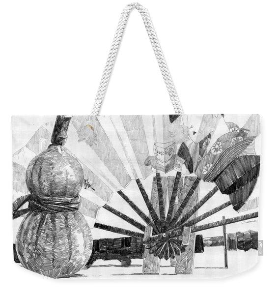 Spirit Of Japan. Pumpkin Jar And Fan Weekender Tote Bag