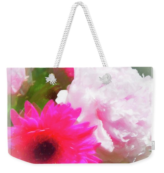 Square Pink Flower Impressions Weekender Tote Bag