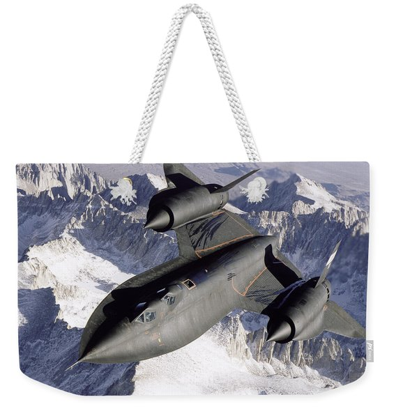 Sr-71b Blackbird In Flight Weekender Tote Bag