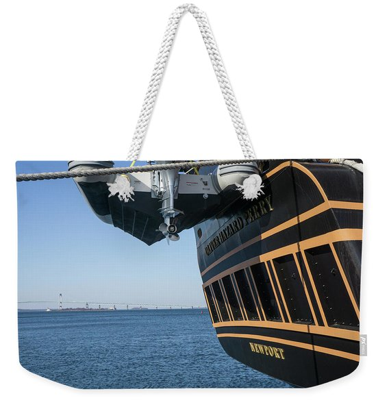 Weekender Tote Bag featuring the photograph Ssv Oliver Hazard Perry Close Up by Nancy De Flon