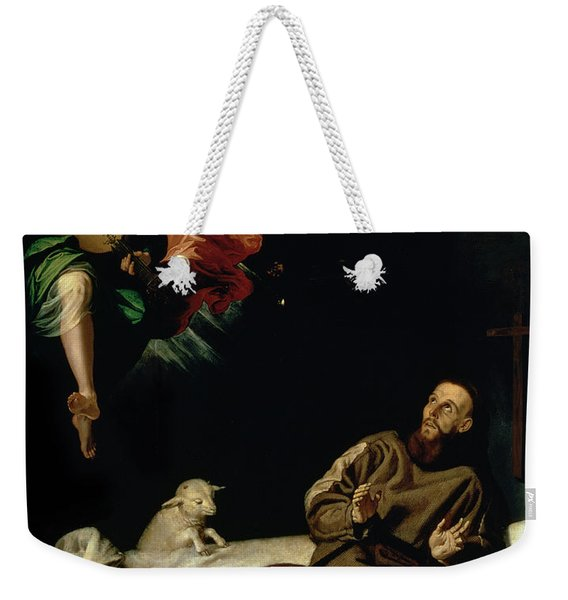 St Francis Comforted By An Angel Musician Weekender Tote Bag